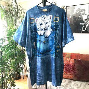 THE MOUNTAIN sz XXL Tie Dye Baby Snow Leopard Tee
